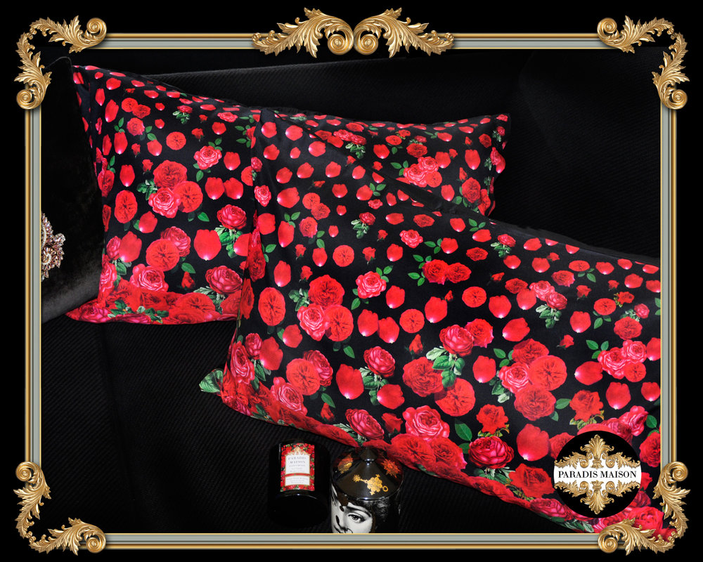 red rose black pillowcases