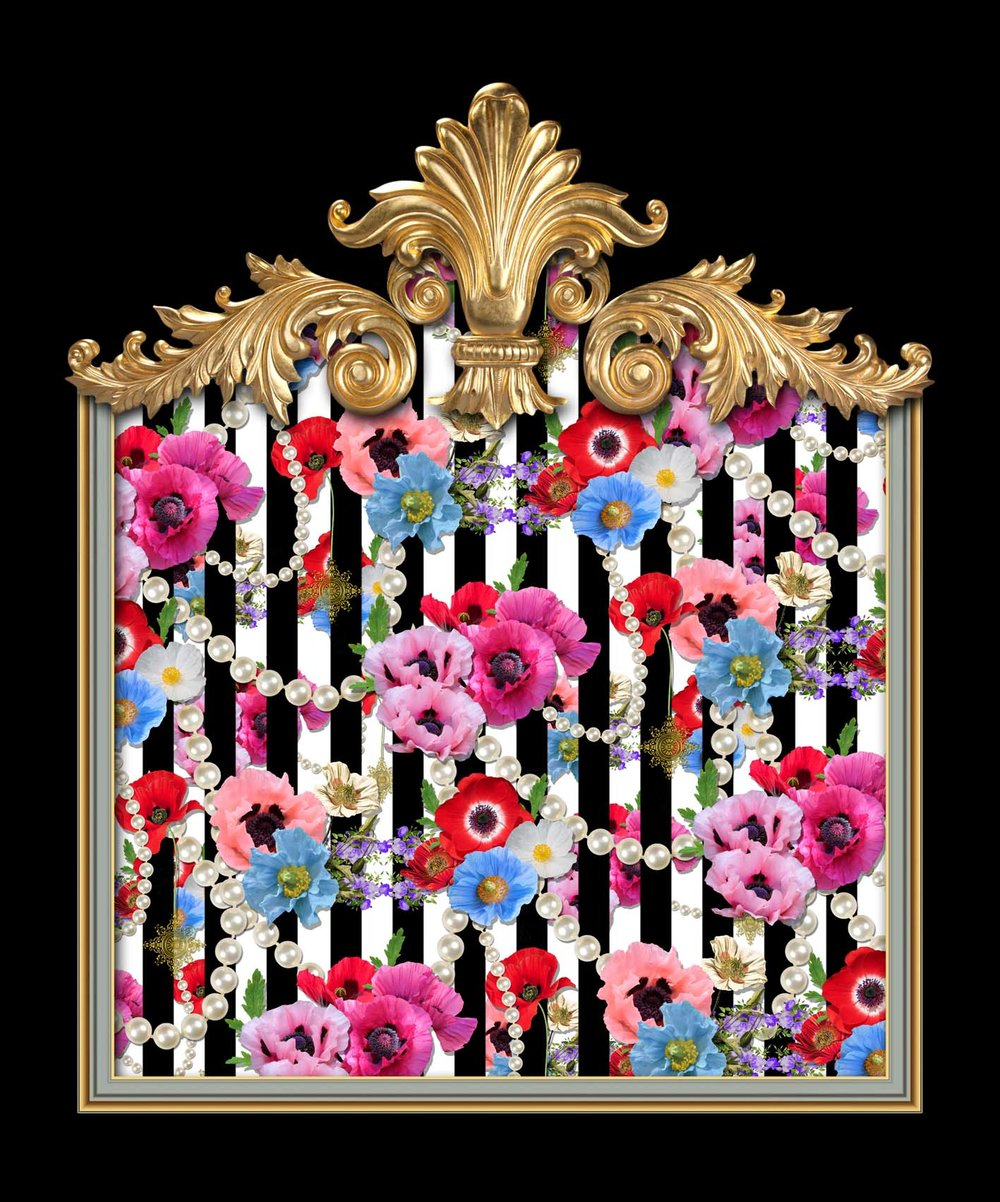Poppy Parade Black & White Stripes
