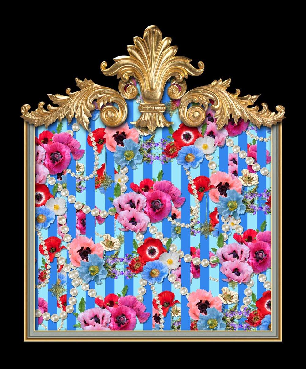 Poppy Parade in Duck Egg Blue Stripes