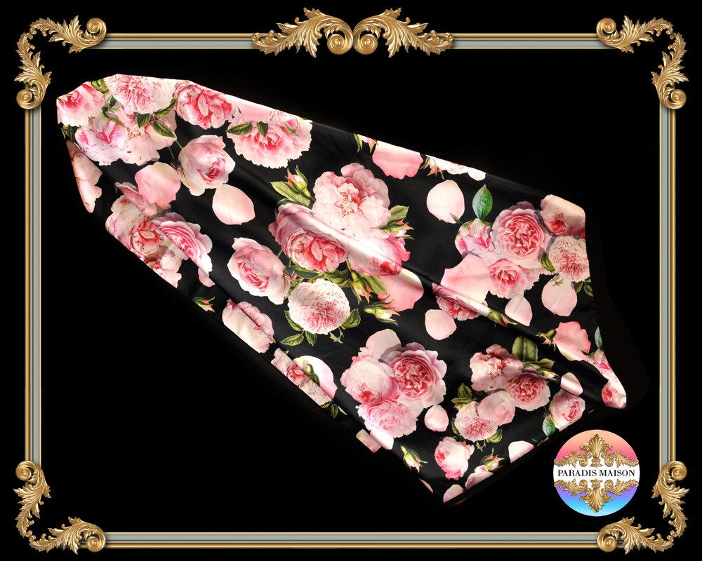 peony flower black silk square scarf