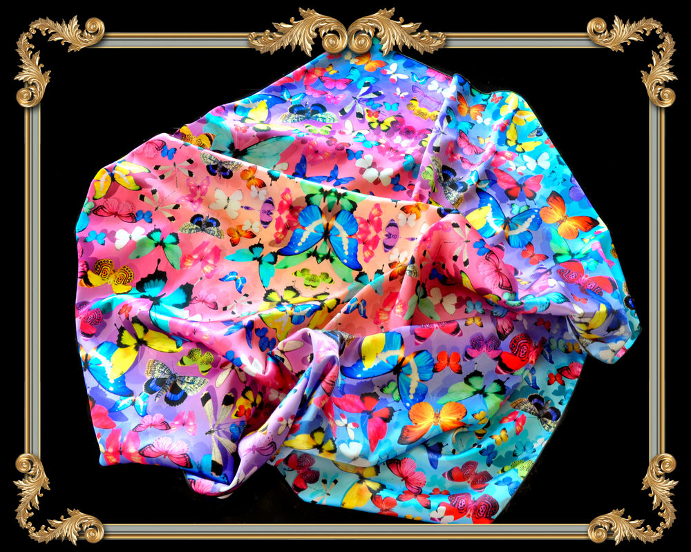 colorful butterfly square silk scarf
