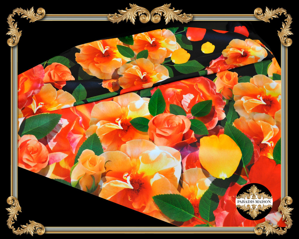 orange and yellow rose square silk scarf PARADIS MAISON