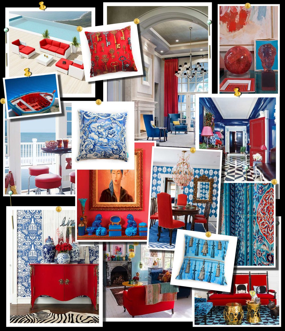Red and Blue Color Scheme Moodboard