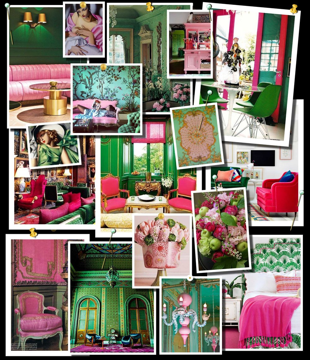 Green and Pink Color Scheme Moodboard