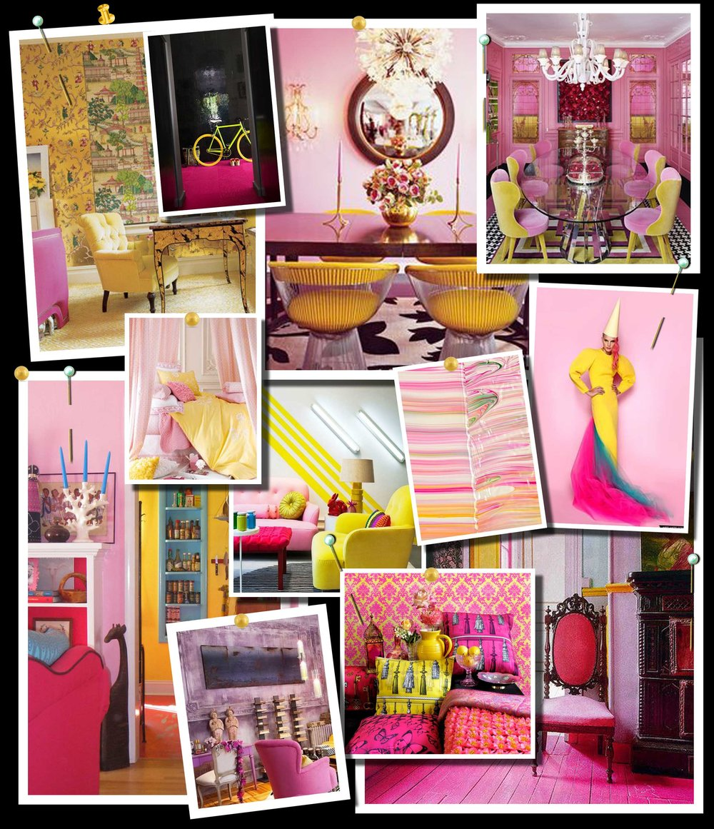 Pink and Yellow Color Scheme Moodboard