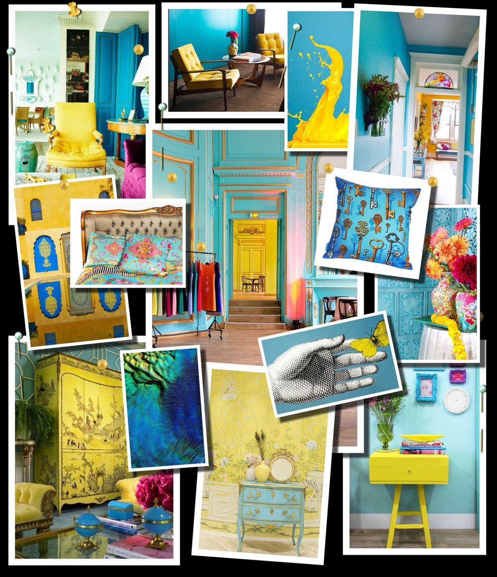 Turquoise and Yellow Color Scheme Moodboard