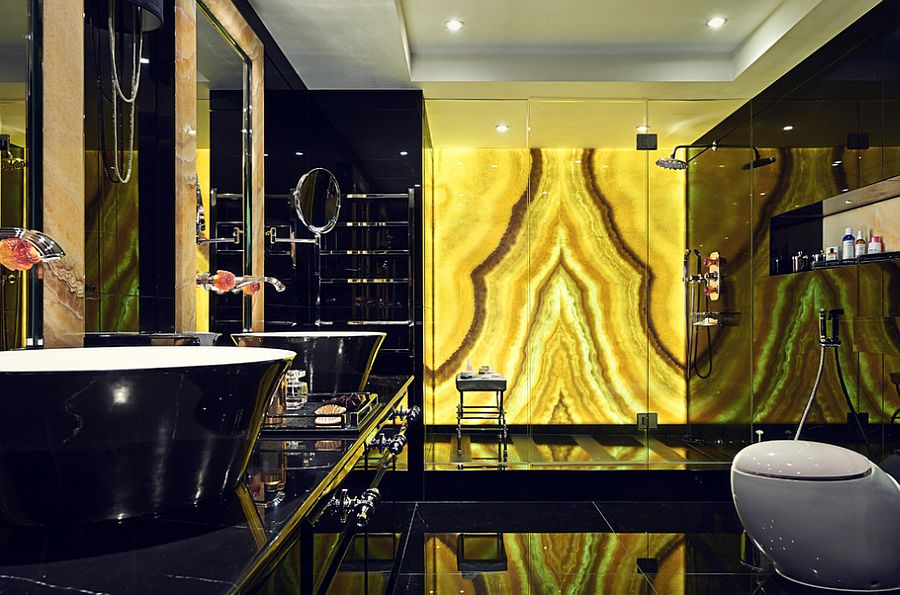 yellow black bathroom design