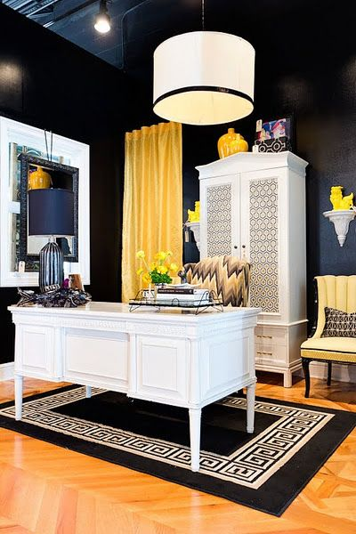 yellow and black interior design