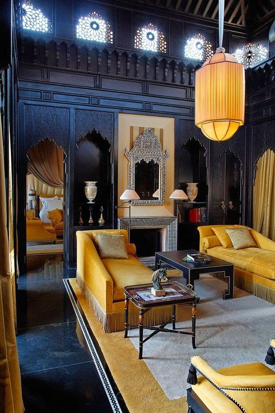 yellow black interior design