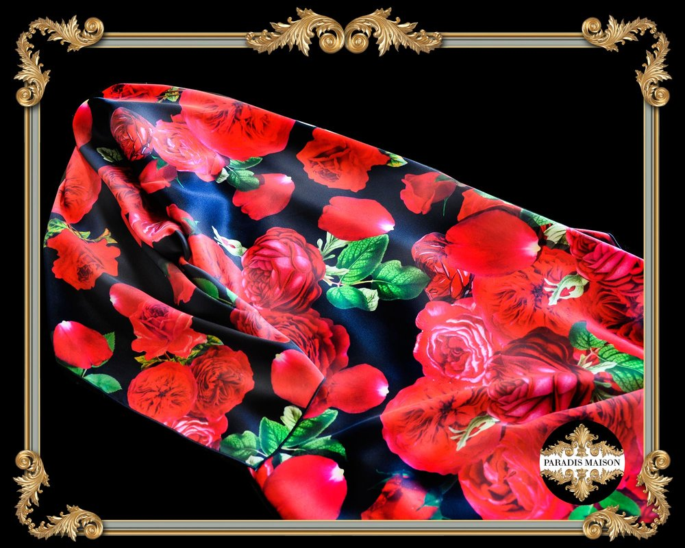 red roses black silk scarf