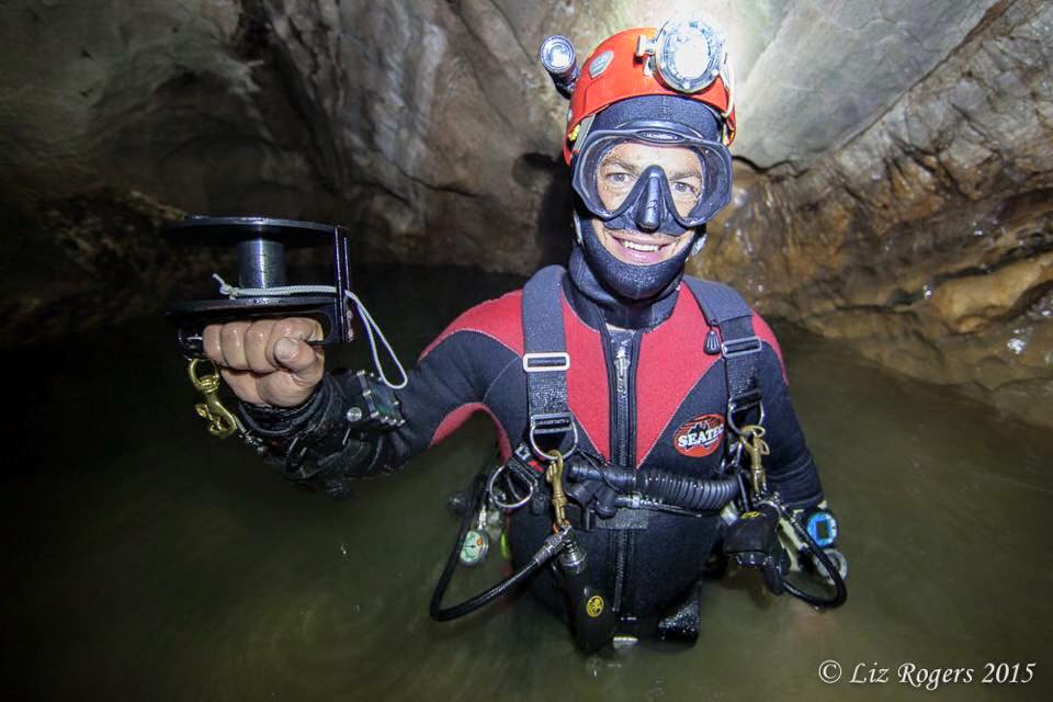 Aussie cave diver Andreas Klocker at Blue Ball Sump #1 (of three) in Red Ball Canyon at 650m of depth in the Sótano de San Agustín section of Sistema Huautla. On the other side of the sumps, 30m, 30m, and 5m in length, Andreas has led a climbing effort up vertical shafts with waterfalls, at times wearing a dive mask while climbing.