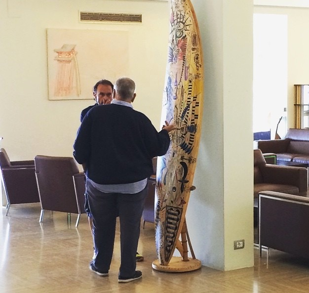 Renato Penna and Dario Correale in the hotel lobby with the finished MANA art piece!
