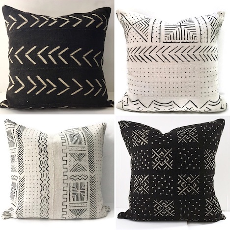 Mud cloth pillows; $110-$140; Etsy