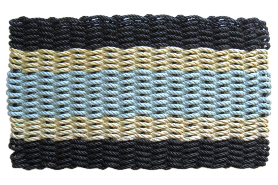 These colorblock, textured mats made in Maine from reclaimed float rope are durable and pretty. Get 'em   here  .