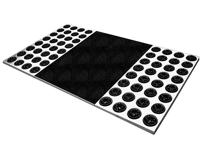 The Feet-Back II Radius doormat features a stainless steel base and plastic (replaceable) bristles. Made in Germany, you can get 'em right   here