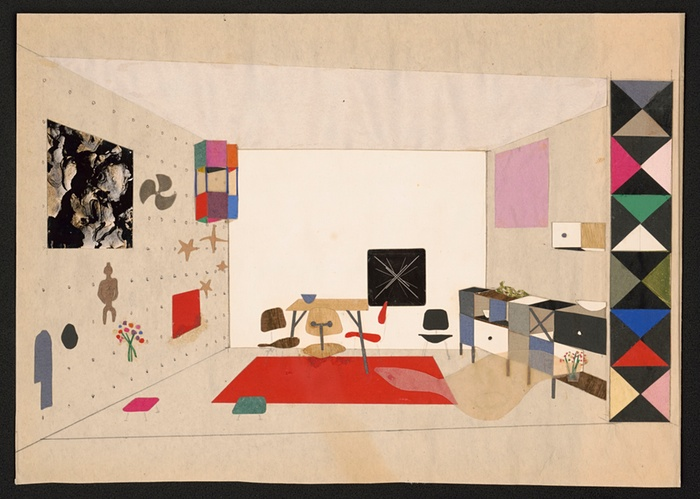 Collage of a room display for An Exhibition for Modern Living, 1949. Photograph: Eames Office