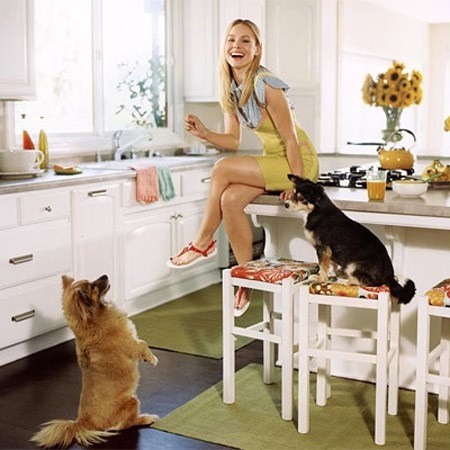 "Kristin Bell, her dogs, and Benjamin Moore's ""Swiss Coffee"" on the walls, ""Simply White"" on the cabinets."