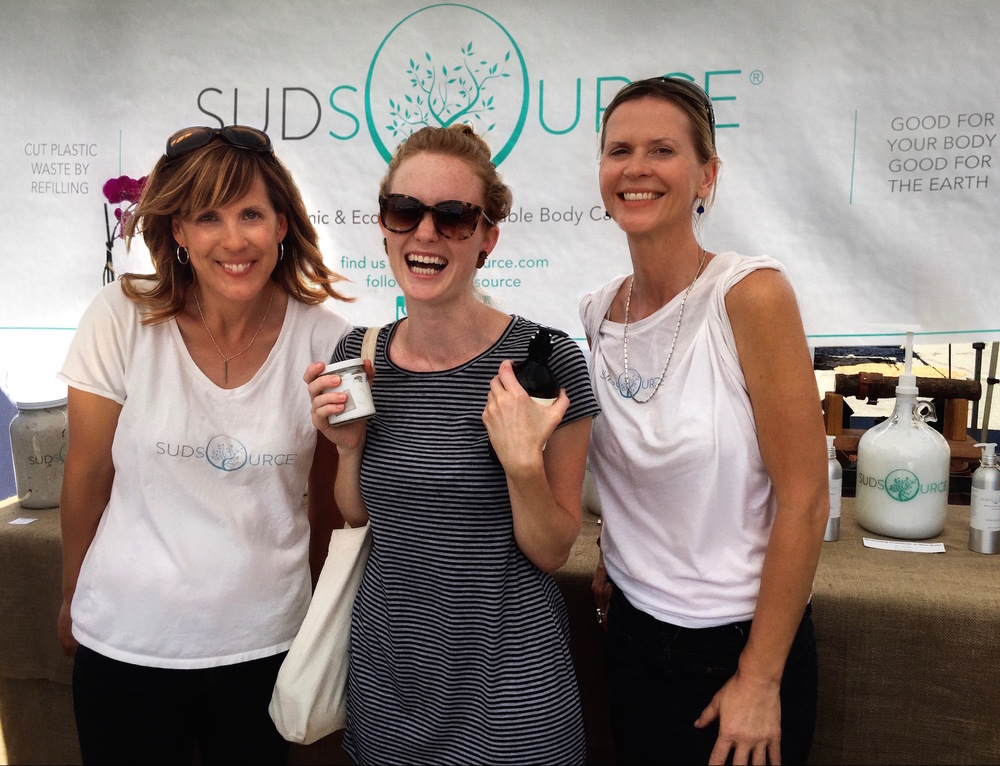 Kathleen and Julianne with Sudsource customer (  @iquittrash on Instagram), a fellow woman on a mission to reduce waste. She brought her own glass containers to the market to fill to the brim with her favorite Sudsource products!!