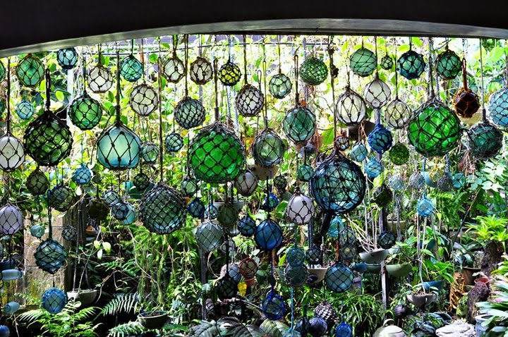 Glass fishing floats become a hanging garden .
