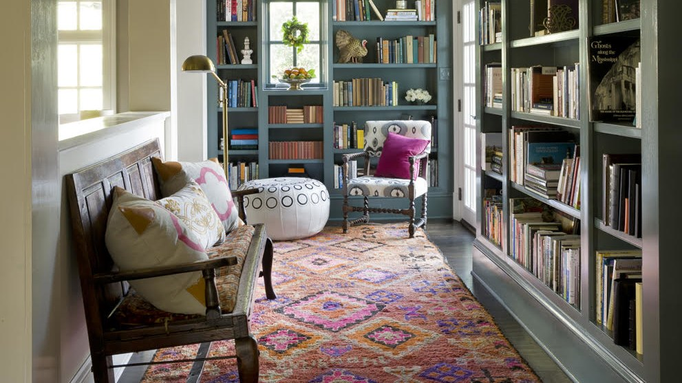 Jane Molster  is a big fan of color (obviously) and really brings it to this reading room.