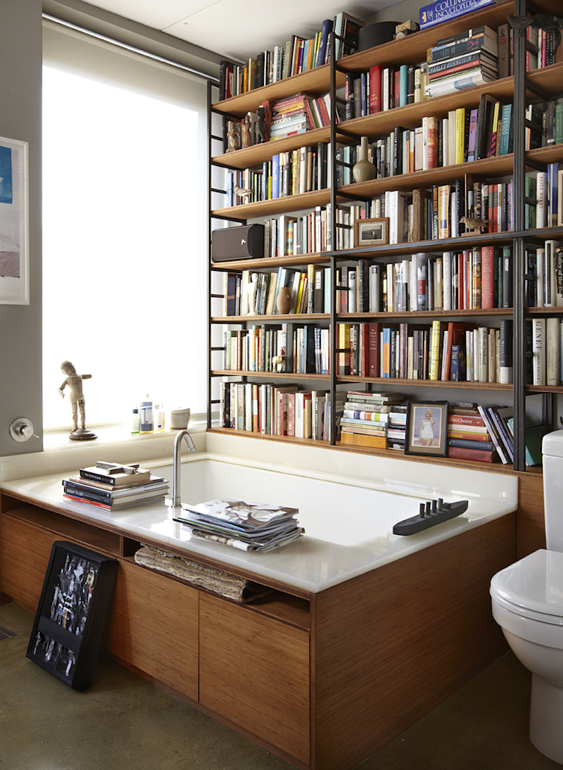 Writer Michael Cunningham has the right idea. Bathtub + books = genius (Source:  FSG Work in Progress )