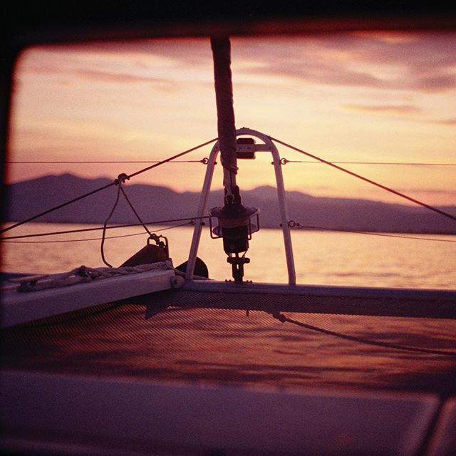 Sunset cruising 🌅 #saltyleisure #lagooncatamaran #visitgreece