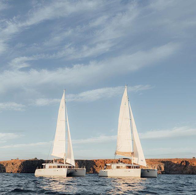 Flotilla of two ⛵️⛵️ #saltyleisure #lagooncatamarans #visitgreece