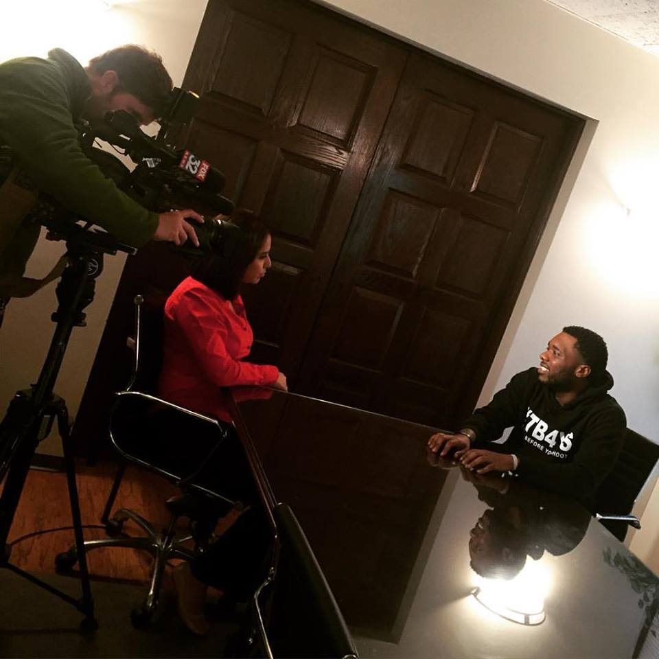 "Founder and President of Think Before You Shoot ""Anthony J. Sturdivant"" being interviewed by Lisa Chavarria of FOX News 32."
