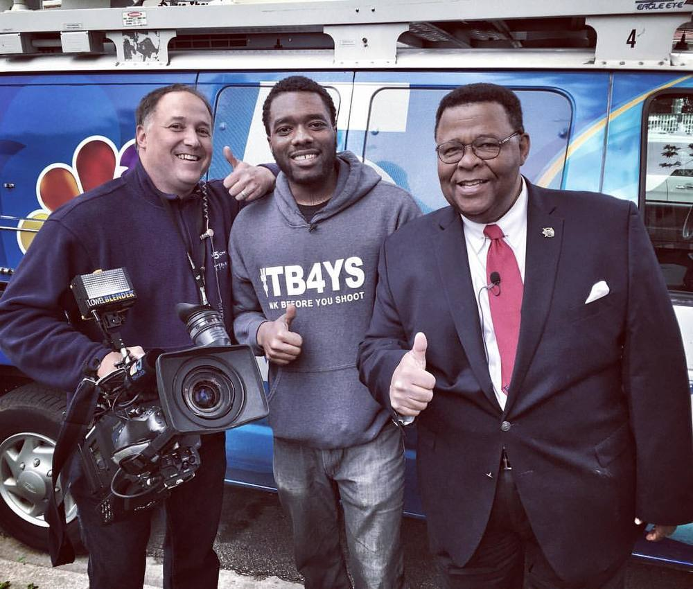 "(Click on image to view interview) Founder and writer Anthony J. Sturdivant with Art Norman and NBC news crew after filming the ""Making A Difference"" news segment on the Think Before You Shoot movement."