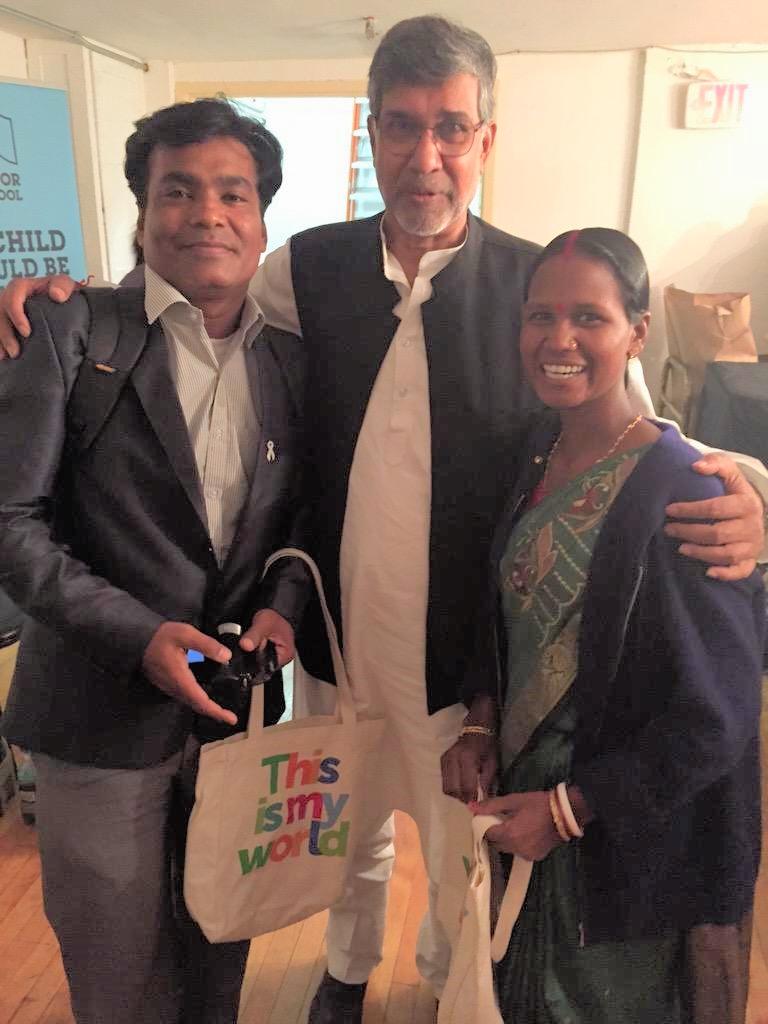santana murmu and sujoy roy with nobel peace prize laureate Kailash Satyarthi