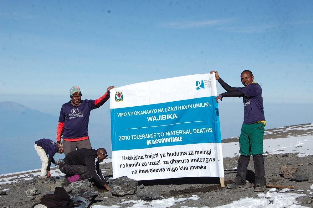 At the top of Mt. Kilimanjaro. Photo Credit: WRA Tanzania.