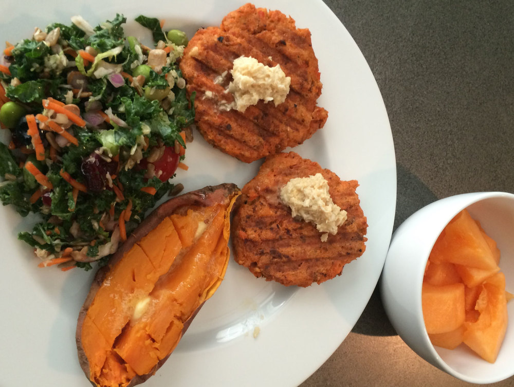 Salmon Patties, Superfood Salad, Sweet Potato, Melon