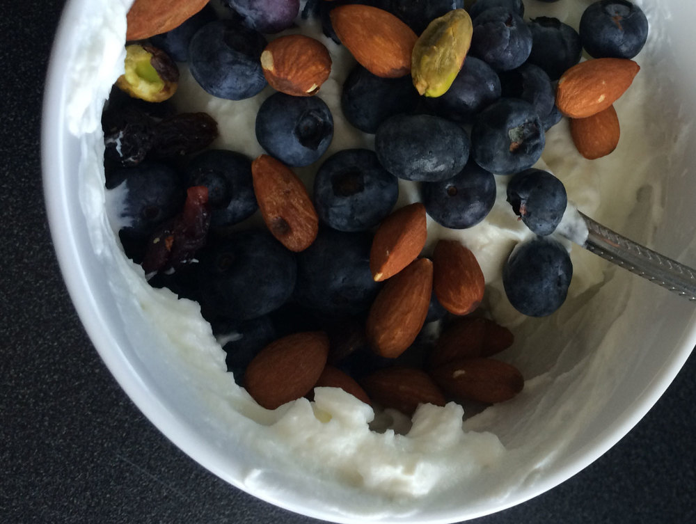 Greek Yogurt with blueberries and Nuts