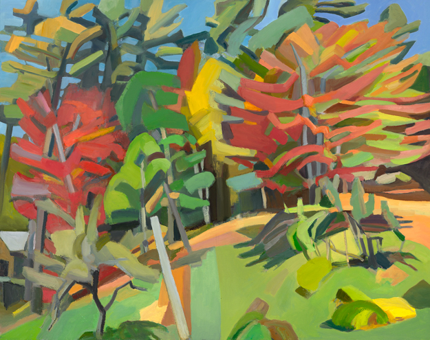 """""""Two Red Maples,"""" oil on linen, 48 x 60 inches Courtesy of the artist and Gross McCleaf Gallery, Philadelphia, PA"""