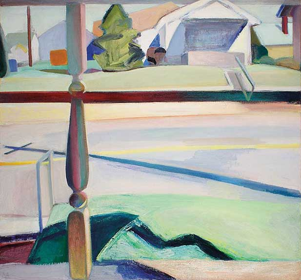 """""""Front Porch with Telephone Pole, Bloomington,"""" oil on canvas, 54 x 58 inches Courtesy of the artist and Gross McCleaf Gallery, Philadelphia, PA"""