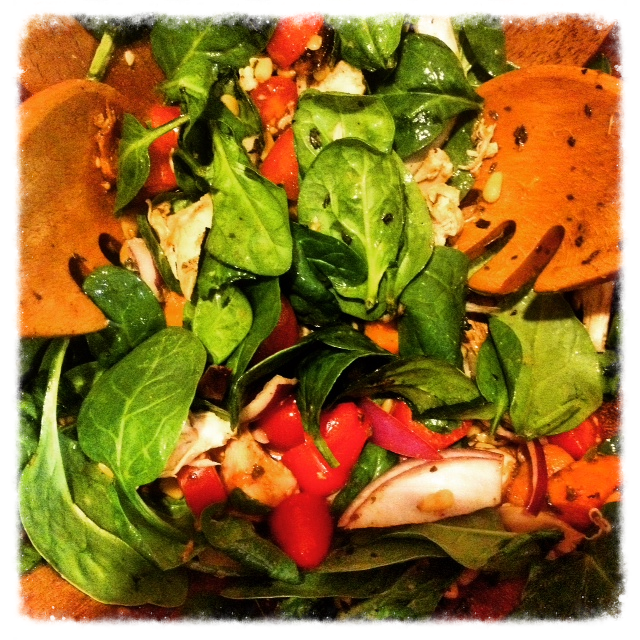 Leftover roasted sweet potatoes and pulled rotisserie chicken turn a spinach salad into a rib-sticker of a healthy meal.