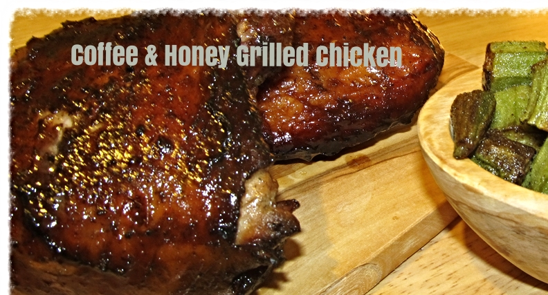 A coffee and honey marinade makes for juicy, sweet, caramelized grilled chicken.