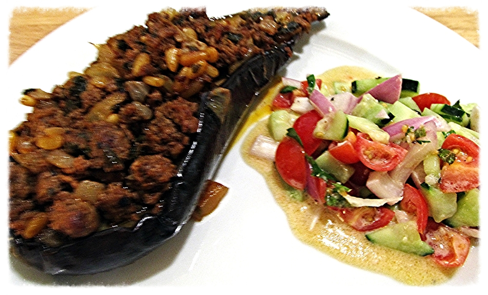 Stuffed Eggplant with Lamb & Pine Nuts from the Jerusalem Cookbook.