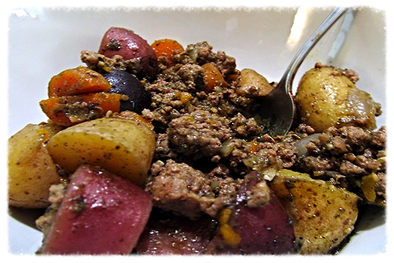Za'atar tagine with venison, potatoes and carrots.