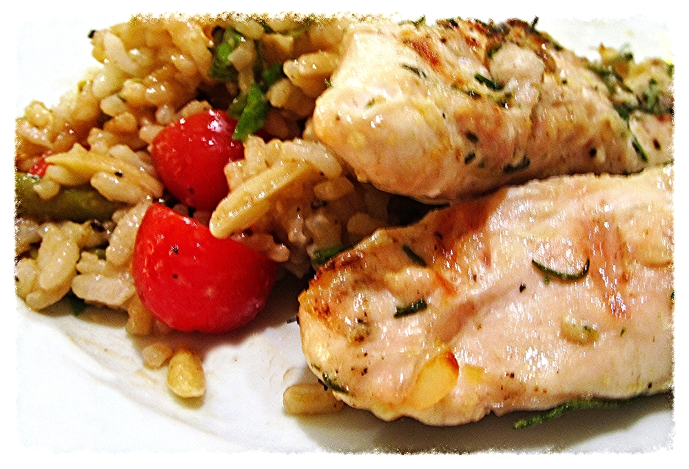 Eggless Rosemary-Crusted Grilled Chicken with Cold Rice Salad on the side. Tuscan. Simple.