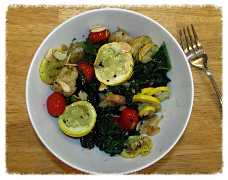 Kale, squash, tomatoes, shrimp and toasted almonds combine for a nutrient-packed and tasty meal.