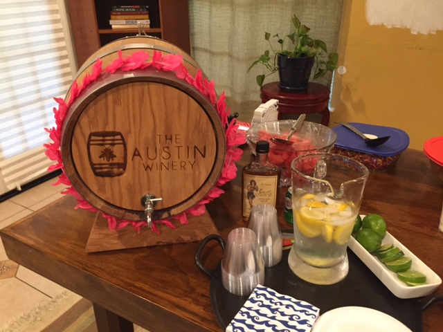 The keg of wine from our friends at The Austin Winery. Never mind the primer paint on the wall as part of our home remodel.