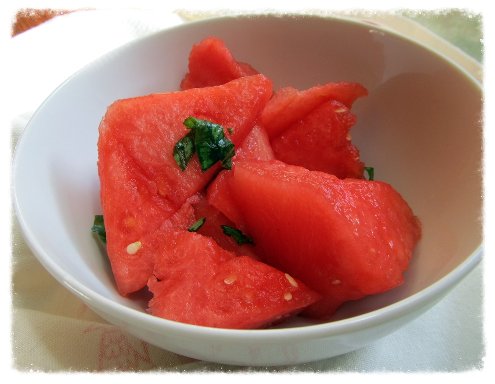 Chilled watermelon with fresh basil and a pinch of cayenne to cool you off.