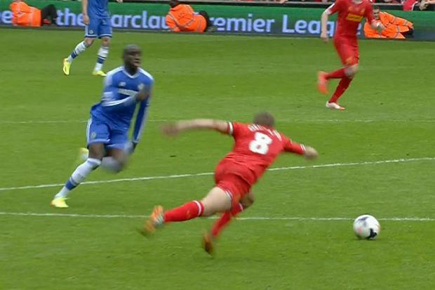 Steven Gerrard shown here ensuring another Liverpool title.