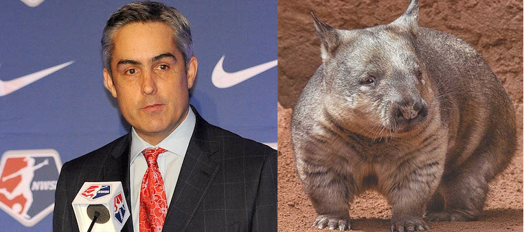 LEFT: Northern Hairy-Nosed Wombat   RIGHT: Jeff Plush, Commissioner of the National Women's Soccer League