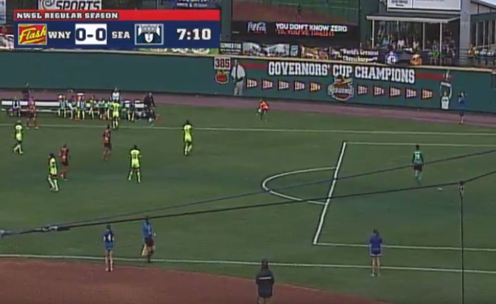 Photo: @ JeffKassouf   The field for the NWSL Unpaid-Stars Game