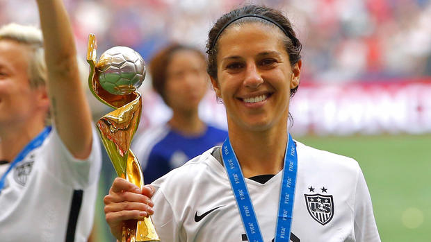 Carli Lloyd celebrating at the end of the 2015 soccer season.