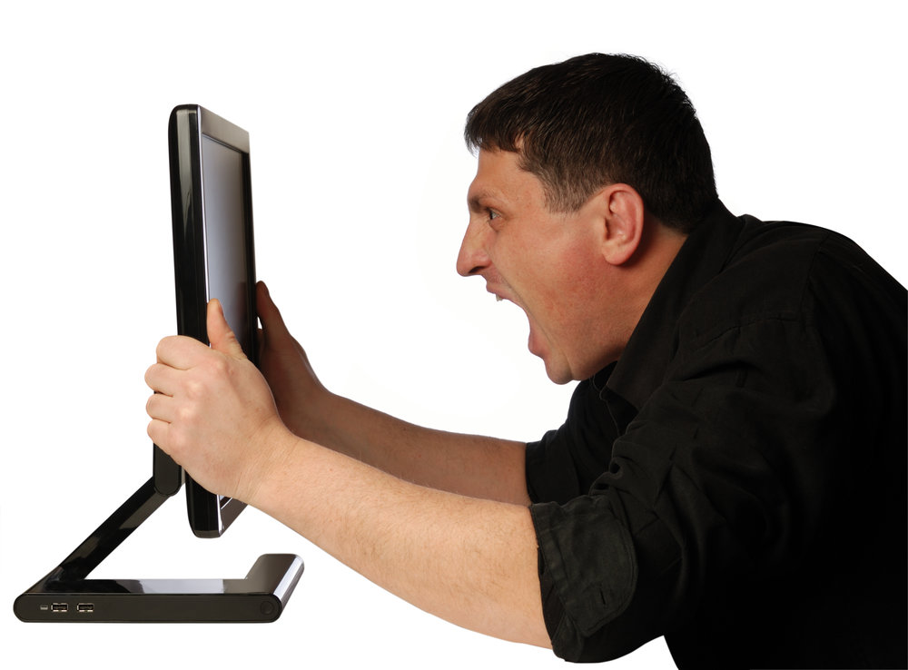 Look, he is basically yelling at a free standing monitor for no reason.
