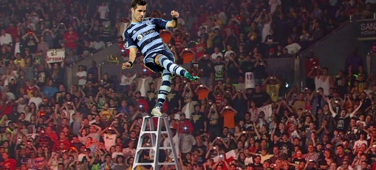 It's Feilhaber..... HE'S AT THE TOP.... WHATS HE GOING TO DO........ Oh..... MAH.... GOD.....