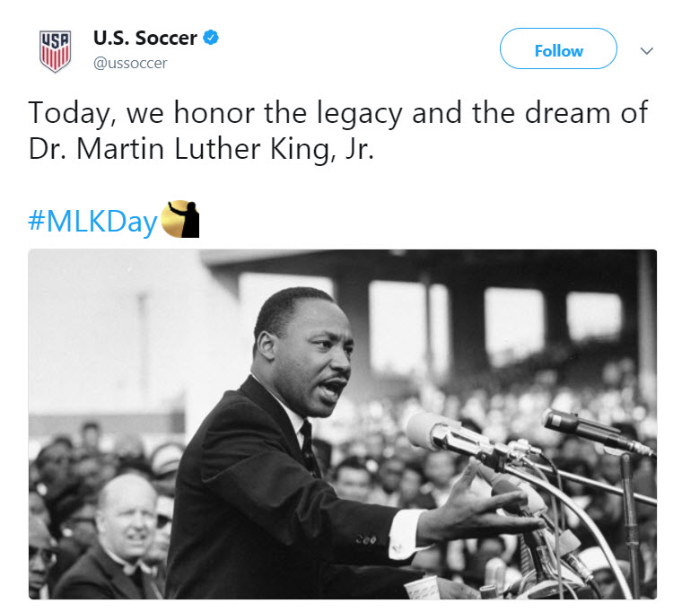 We honor the legacy and dream, but only in that WAY off in the distant past kind of way. Not in a way that would actually honor the legacy and dream of Dr King carried out by current people and athletes.